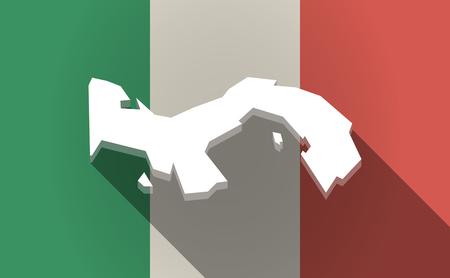 Ilustración de una bandera de Italia de sombra de largo con el mapa de Panamá Vectores