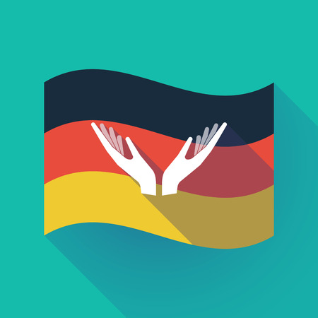 Illustration of a long shadow waving Germany flag with  two hands offering Çizim