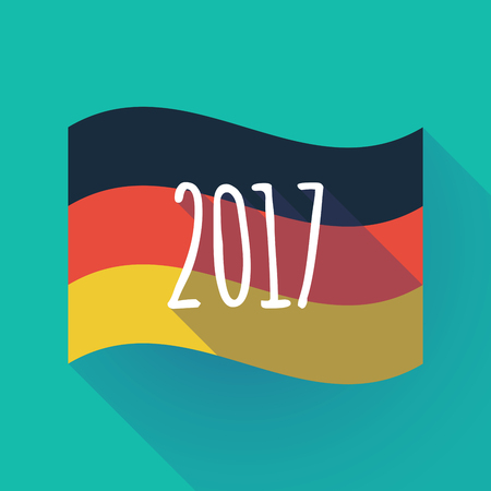 Illustration of a long shadow waving Germany flag with  a 2017 year  number icon Illustration