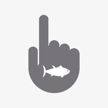 finger fish: Illustration of an isolated touching hand with  a tuna fish