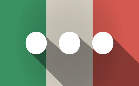 Illustration of a long shadow Italy flag with  an ellipsis orthographic sign Illustration