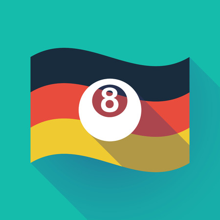 bola ocho: Illustration of a long shadow waving Germany flag with  a pool ball Vectores