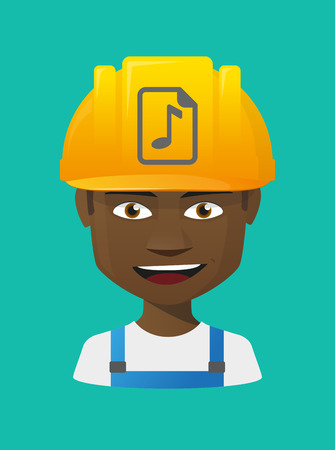 musical score: Illustration of a cartoon worker avatar with a working helmet and  a music score icon