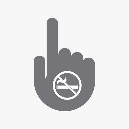Illustration of an isolated touching hand with  a no smoking sign Illustration