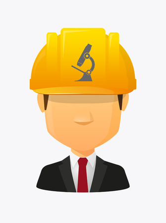 Illustration of a cartoon worker avatar with a working helmet and  a microscope icon
