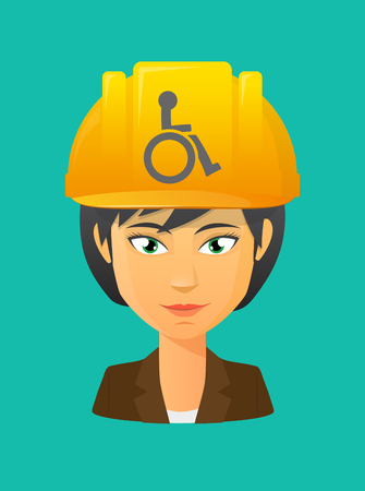 Illustration of a cartoon worker avatar with a working helmet and  a human figure in a wheelchair icon