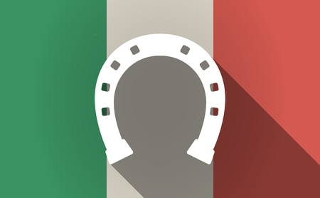 Illustration of a long shadow Italy flag with  a horseshoe sign 版權商用圖片 - 83502529