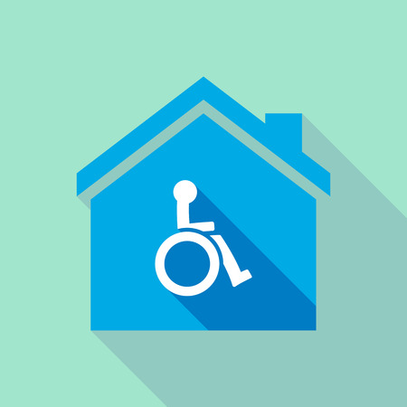 Illustration of a long shadow house with a human figure in a wheelchair icon