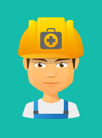 Illustration of a cartoon worker avatar with a working helmet and  a first aid kit icon