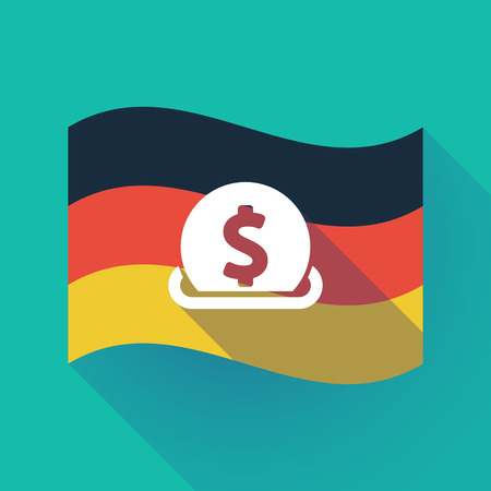 Illustration of a long shadow waving Germany flag with  a dollar coin entering in a moneybox
