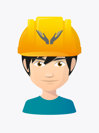 Illustration of a cartoon worker avatar with a working helmet and  two hands offering