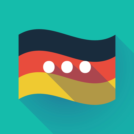 Illustration of a long shadow waving Germany flag with  an ellipsis orthographic sign Illustration