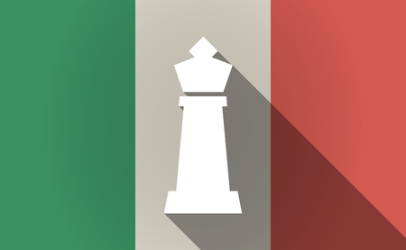 italia: Illustration of a long shadow Italy flag with a  king   chess figure