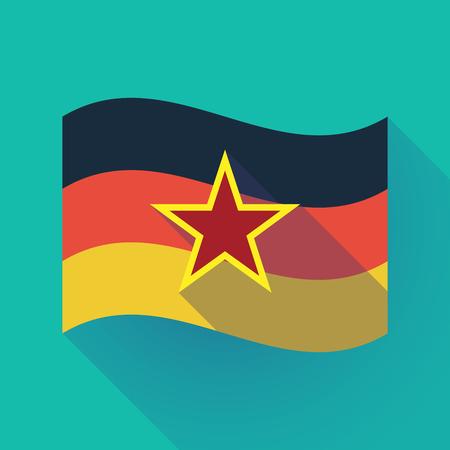 공산주의 아이콘의 레드 스타와 함께 독일 국기를 흔들며 긴 그림자의 그림