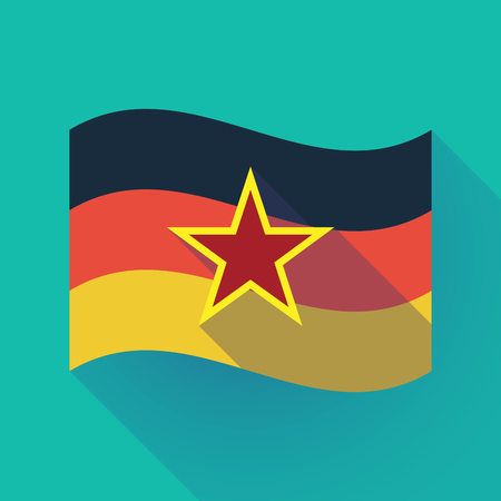 Illustration of a long shadow waving Germany flag with  the red star of communism icon Ilustração