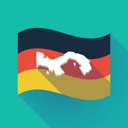 Ilustración de una larga sombra ondeando la bandera de Alemania con el mapa de Panamá