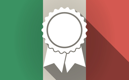 italia: Illustration of a long shadow Italy flag with  a ribbon award