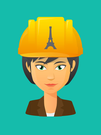activist: Illustration of a cartoon worker avatar with a working helmet and   the Eiffel tower