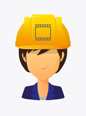 workers rights: Illustration of a cartoon worker avatar with a working helmet and   a photographic 35mm film strip Illustration