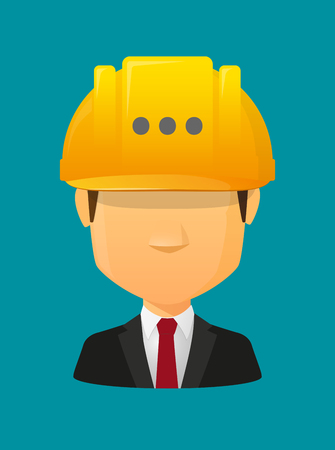 Illustration of a cartoon worker avatar with a working helmet and  an ellipsis orthographic sign Illustration