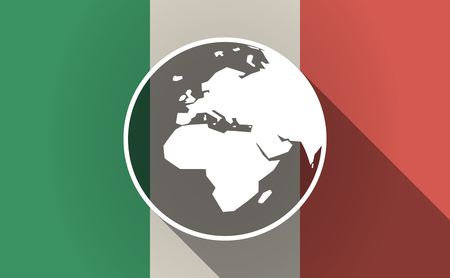 Illustration of a long shadow Italy flag with   an Asia, Africa and Europe regions world globe