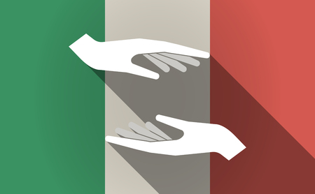 italia: Illustration of a long shadow Italy flag with  two hands giving and receiving  or protecting Illustration