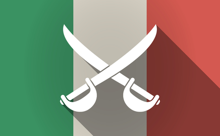 Illustration of a long shadow Italy flag with  two swords crossed Illustration