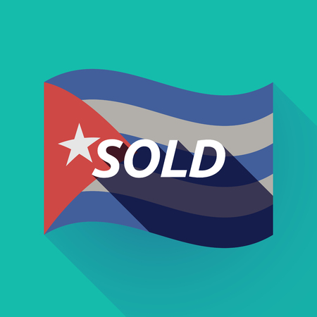 Illustration of a long shadow Cuba waving flag with    the text SOLD Illustration