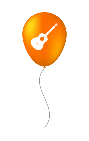 Illustration of an isolated air balloon with  a six string acoustic guitar Illustration