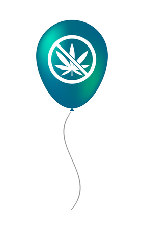 Illustration of an isolated air balloon with  a marijuana leaf  in a not allowed signal