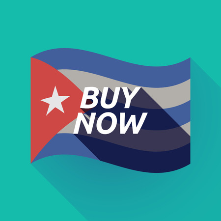 buy now: Illustration of a long shadow Cuba waving flag with    the text BUY NOW Illustration