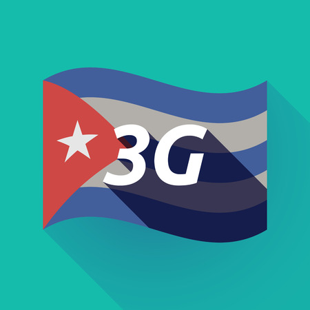 Illustration of a long shadow Cuba waving flag with    the text 3G