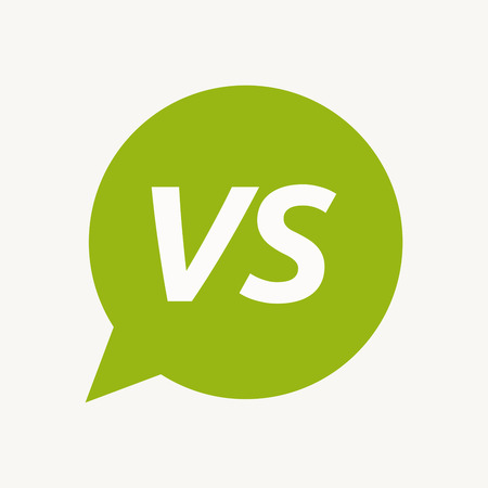 Illustration of an isolated speech balloon with    the text VS Illustration