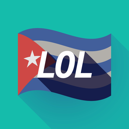 Illustration of a long shadow Cuba waving flag with    the text LOL