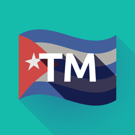 Illustration of a long shadow Cuba waving flag with    the text TM Illustration
