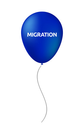 Illustration of an isolated air balloon with  the text MIGRATION Illustration