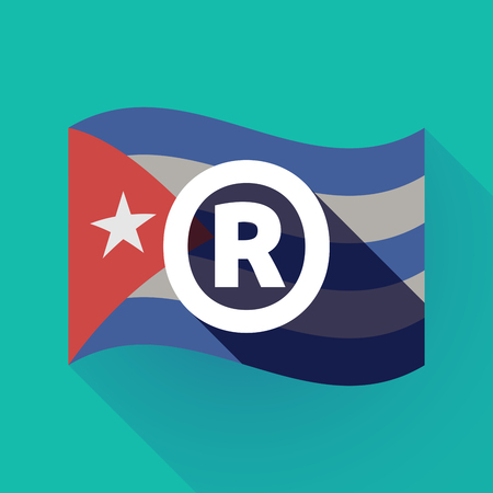 Illustration of a long shadow Cuba waving flag with    the registered trademark symbol