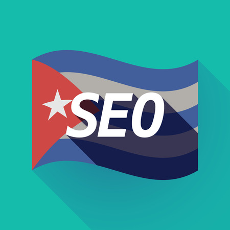 Illustration of a long shadow Cuba waving flag with    the text SEO Illustration
