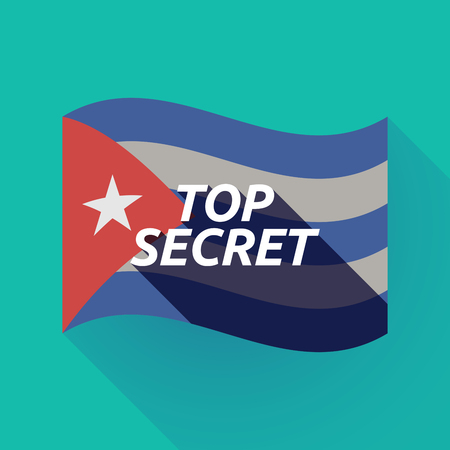Illustration of a long shadow Cuba waving flag with    the text TOP SECRET