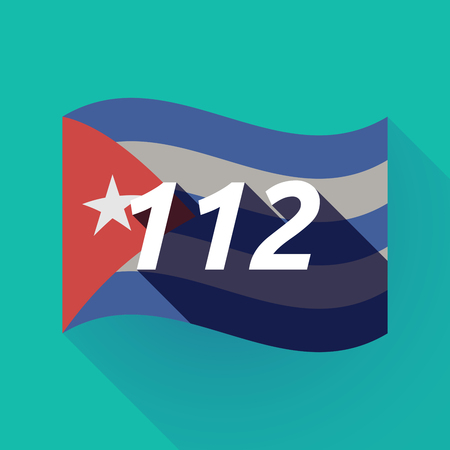 hotline: Illustration of a long shadow Cuba waving flag with    the text 112 Illustration