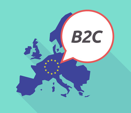 Illustration of a long shadow European Union, its flag and a comic balloon with    the text B2C Illustration