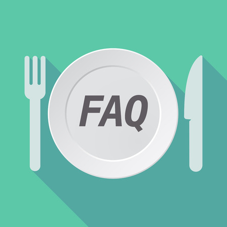 Illustration of a long shadow dish with    the text FAQ