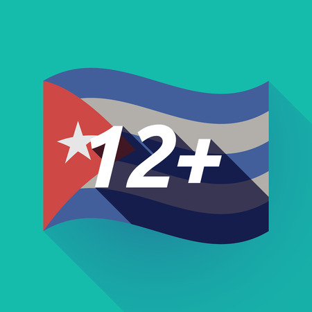Illustration of a long shadow Cuba waving flag with    the text 12+