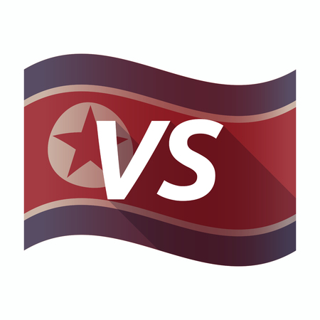 Illustration of an isolated North Korea flag with    the text VS