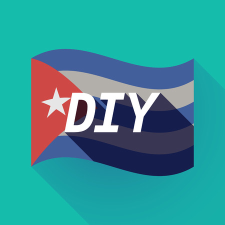 do it: Illustration of a long shadow Cuba waving flag with    the text DIY