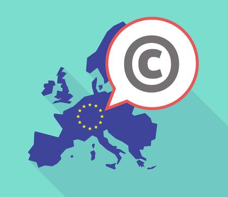 Illustratie van een lange schaduw Europese Unie, de vlag en een komische ballon met het copyright-teken