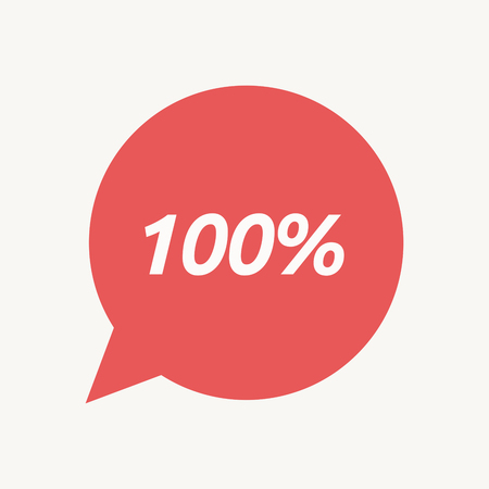 Illustration of an isolated speech balloon with    the text 100%