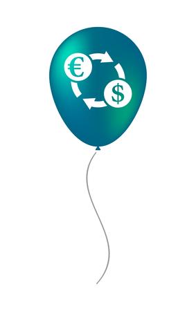 Ilustración de un globo de aire aislado con un signo de cambio de euro Foto de archivo - 83797703