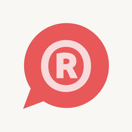 Illustration of an isolated speech balloon with    the registered trademark symbol