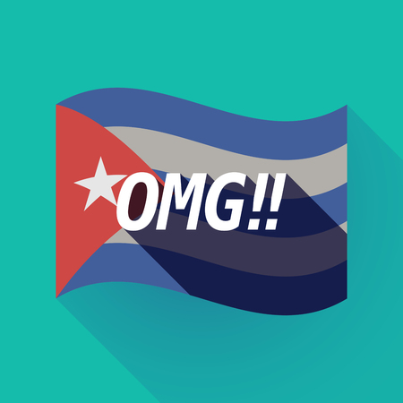 Illustration of a long shadow Cuba waving flag with    the text OMG!! Illustration